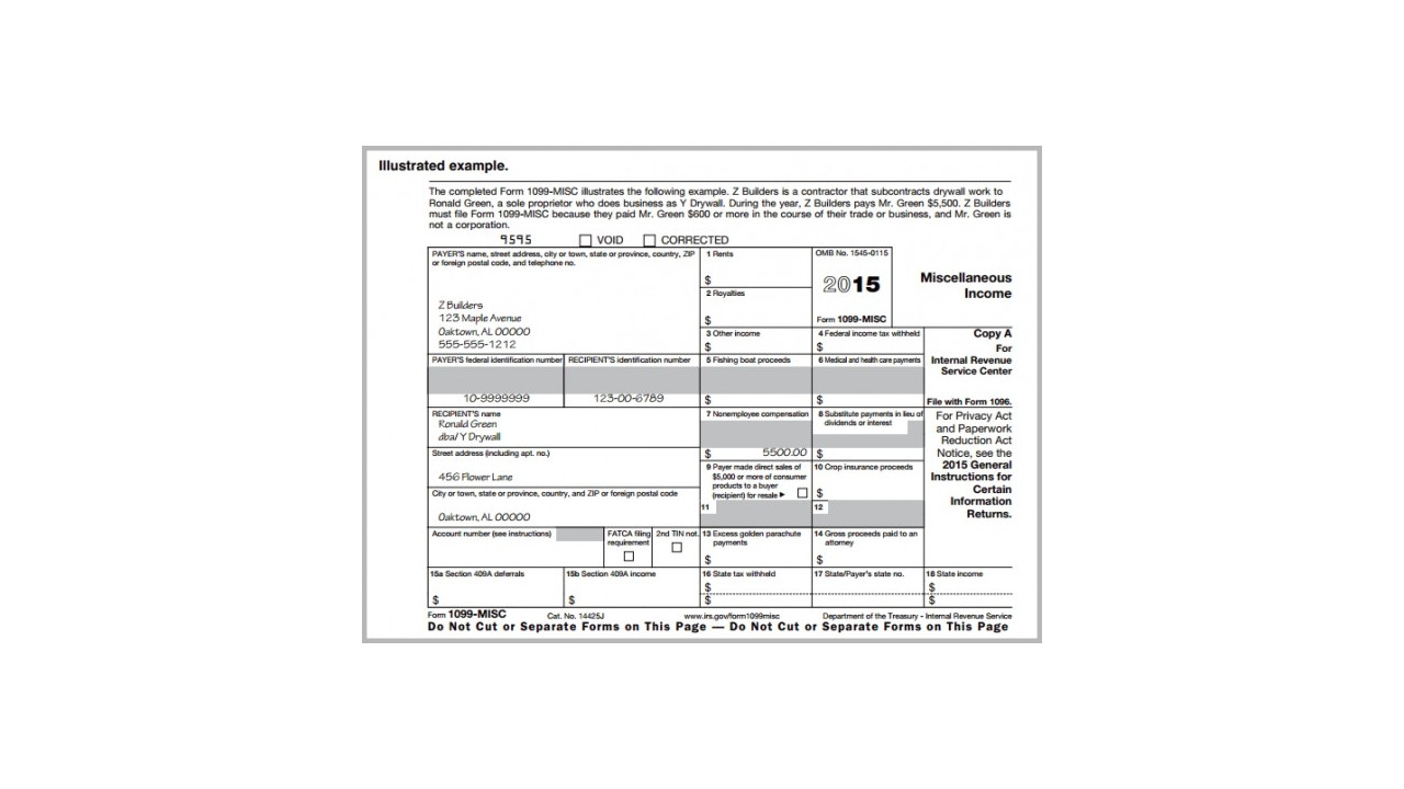 Printable IRS Form 1099-MISC for 2015 (For Taxes To Be Filed in 2016)