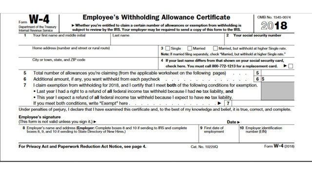 printable 2018 form w-4 | cpa practice advisor