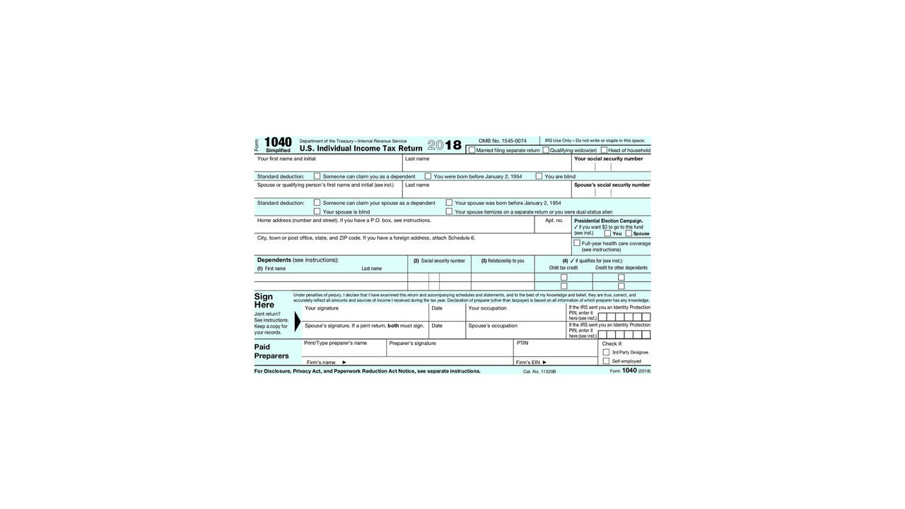 The New Postcard Size IRS Form 1040 For 2019