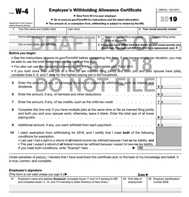 Big Changes for the New W-4 Form