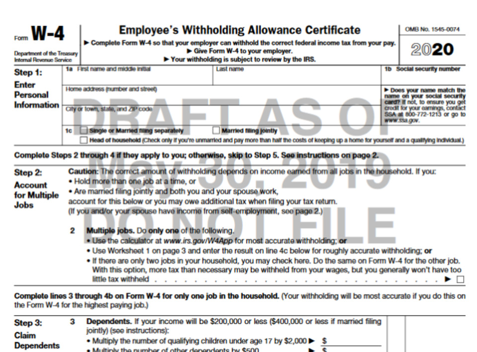 Printable W4 Form 2020.Irs Unveils Draft Version Of New W 4 Form