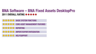 2011 Review of BNA Software – BNA Fixed Assets DesktopPro