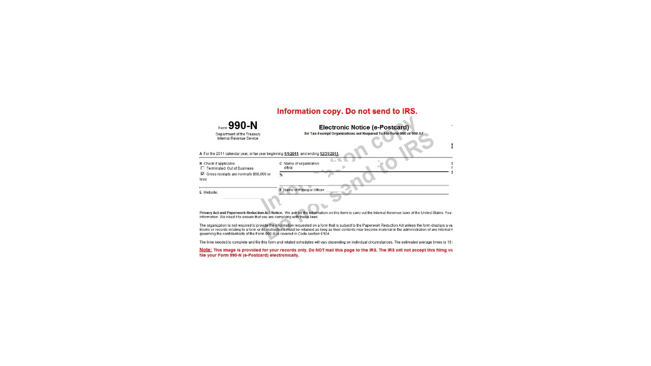 Free e filing of irs form 990 n for small nonprofits falaconquin