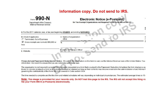 Free e-Filing of IRS Form 990-N for small nonprofits