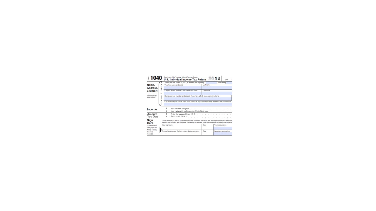 Printable Version Of 2013 Income Tax Return Form 1040 Due April