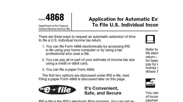 Printable 2014 Irs Form 4868 Automatic Extension Of Time To File